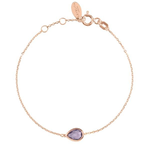 LATELITA LONDON Pisa Mini Teardrop Bracelet Rosegold Amethyst