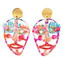 Neon Resin Face Acrylic Laser Cut Statement Earrings image