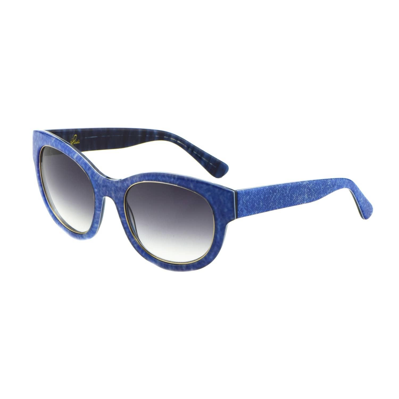 d54a9f2a0155e Denim Print Square Frame Sunglasses Blue image