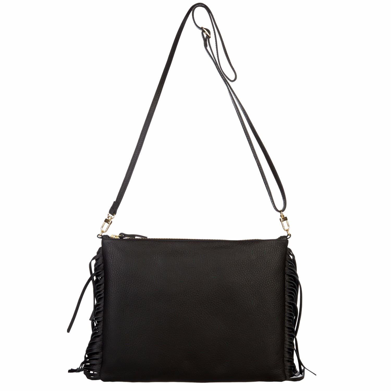 6adba1212561 Fringed Cross Body Bag Black | Davina Mulford London | Wolf & Badger