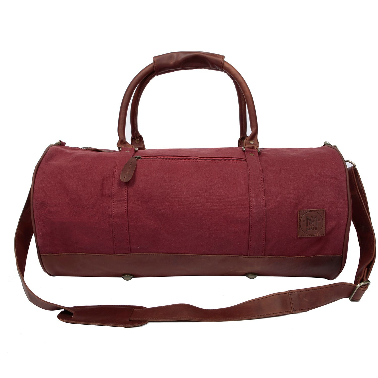 d853c2e65fb4 Leather Classic Duffle Overnight Gym Bag in Red Canvas