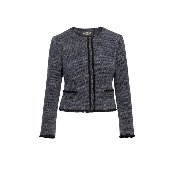 RUMOUR LONDON Eleanor Navy And Cream Tweed Jacket With Fringing Detail in Blue