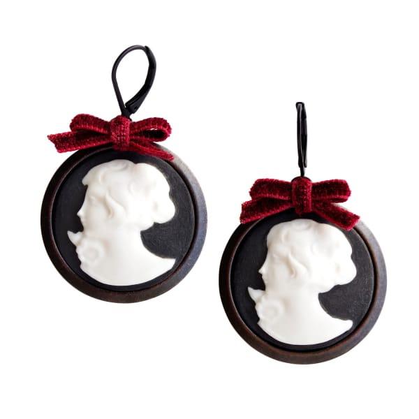 POPORCELAIN Dark Romance Goddess Round Porcelain Cameo Earrings
