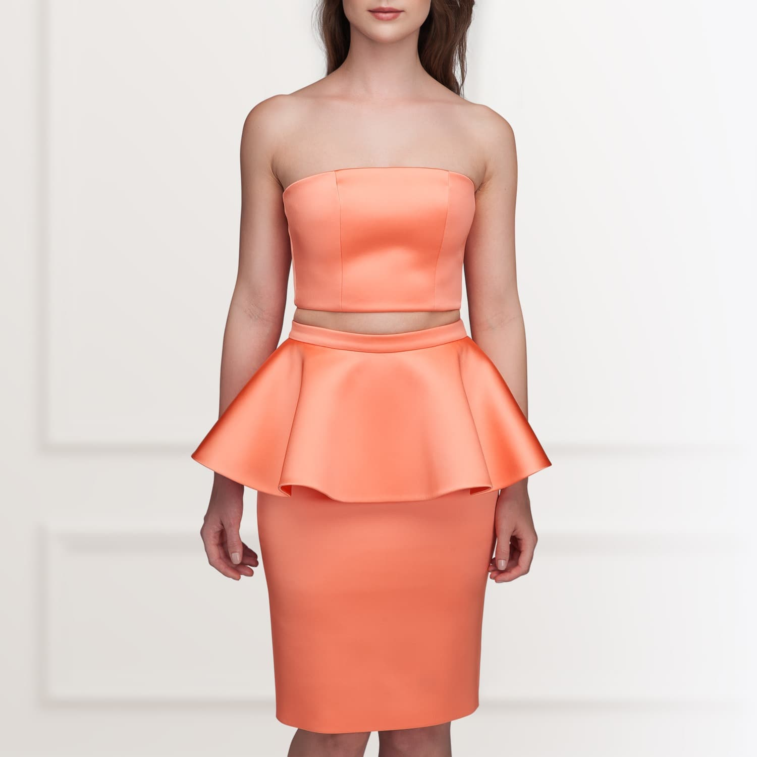 Coral strapless peplum dress