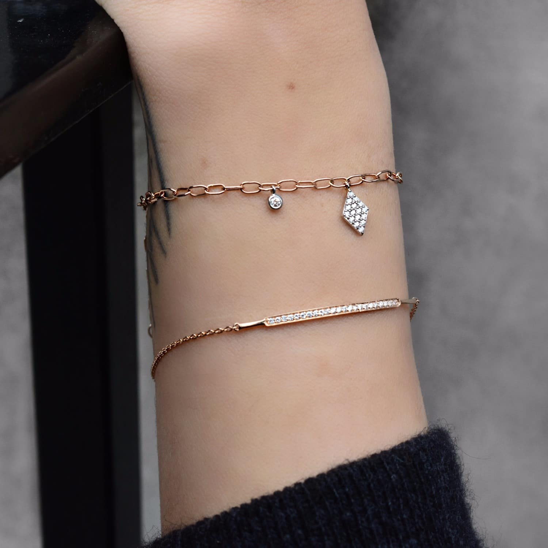 Jezebel London 14kt Rose Gold & Diamond Duke Bracelet on4M6D097Z