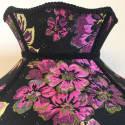 Black Floral Jacquard Crown Lampshade With Black Fringe image
