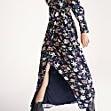 Winter Floral Maxi Wrap Dress In Winter Navy Floral Print image