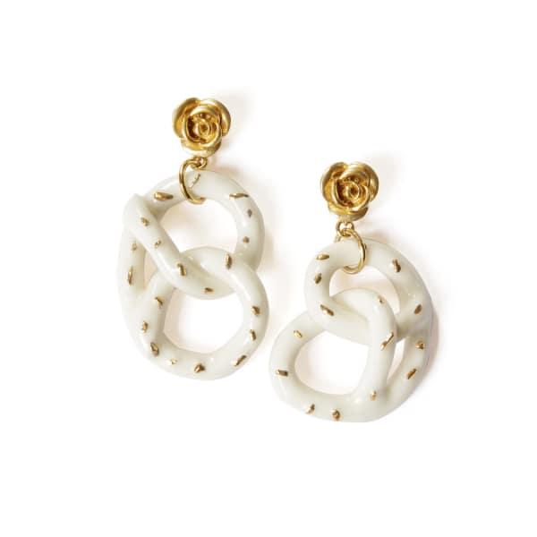 POPORCELAIN Golden Rose & Salted Porcelain Pretzel Earrings