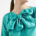 Sabina Silk Bow Blouse Turquoise  image