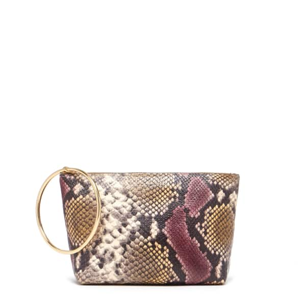THACKER NEW YORK Large Ring Pouch In Merlot Python & Gold in Multicolour