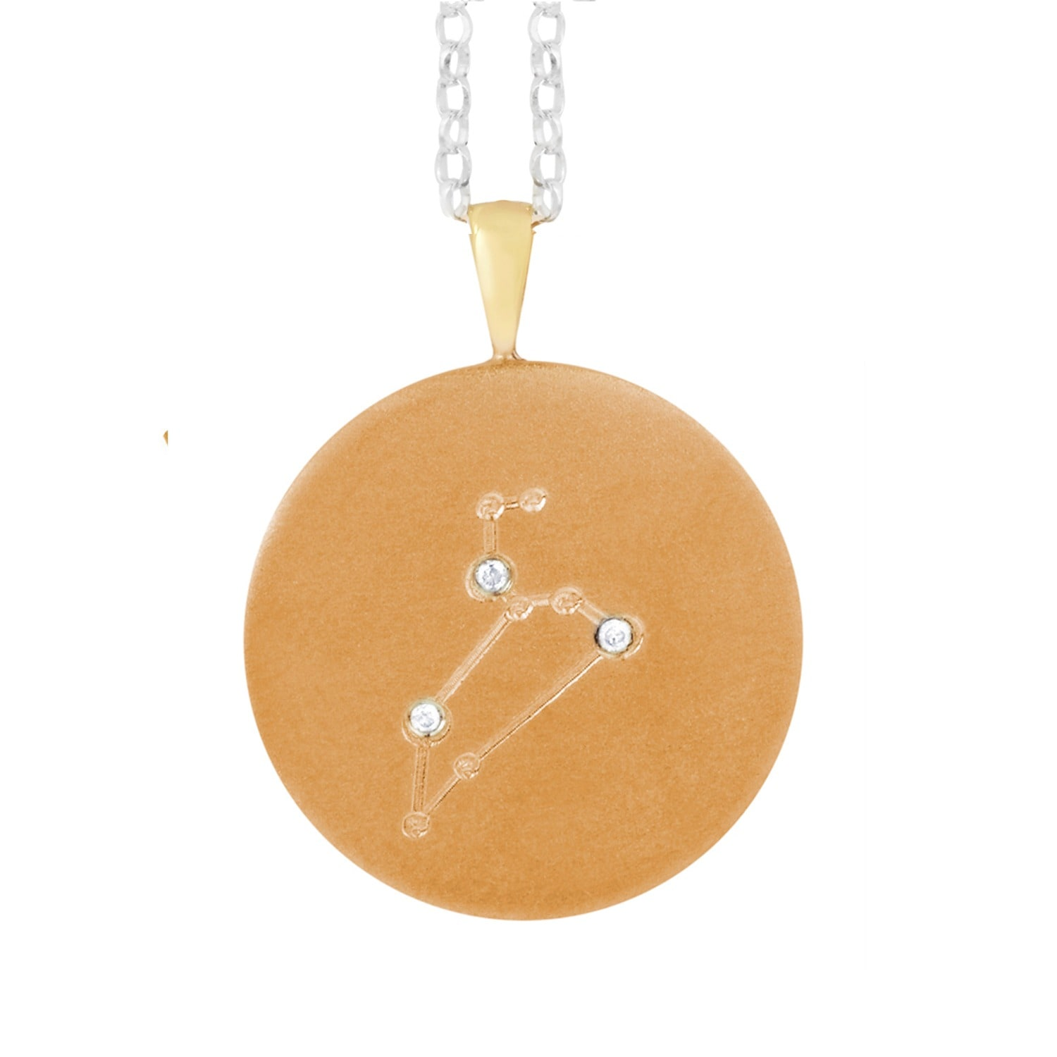 Harry Rocks - Gold Leo Constellation With Diamonds Necklace