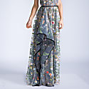 Marcella Multi Color Embroidered Lace Halter Gown image