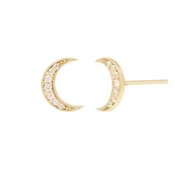 MONARC JEWELLERY Selene Stud Earrings. 9ct Gold and White Topaz