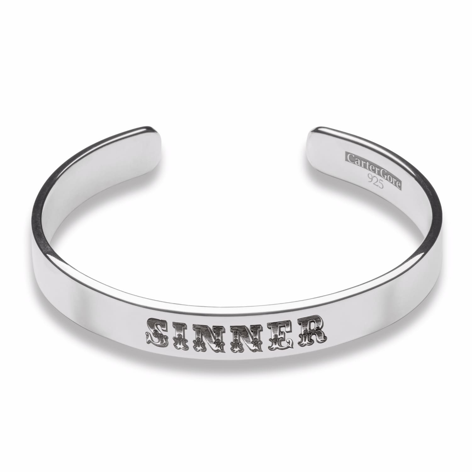 2940c89cafe Silver Thick Width Sinner Bangle | CarterGore | Wolf & Badger