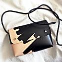 Handmade Mini Cross-Body Bag Oana Ink Brushed - Natural & Black image
