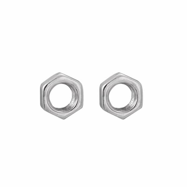 Hex Nut Earrings Silver