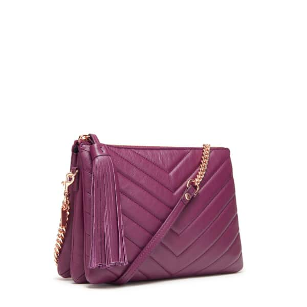 THACKER NEW YORK Ladybird Chain Clutch In Plum Quilted Chevron in Red