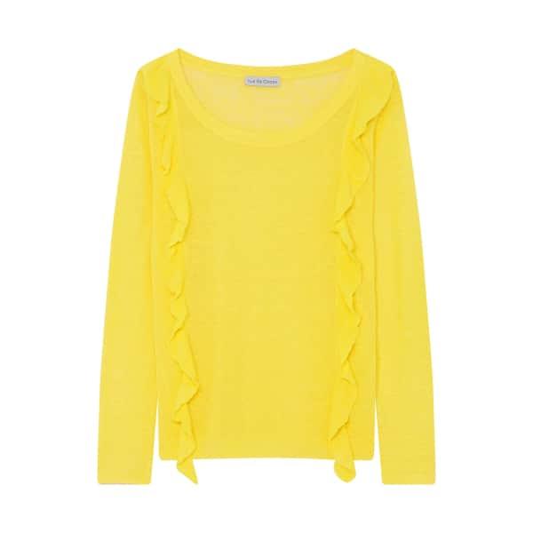 ILLE DE COCOS Linen Ruffle Sweater Canary