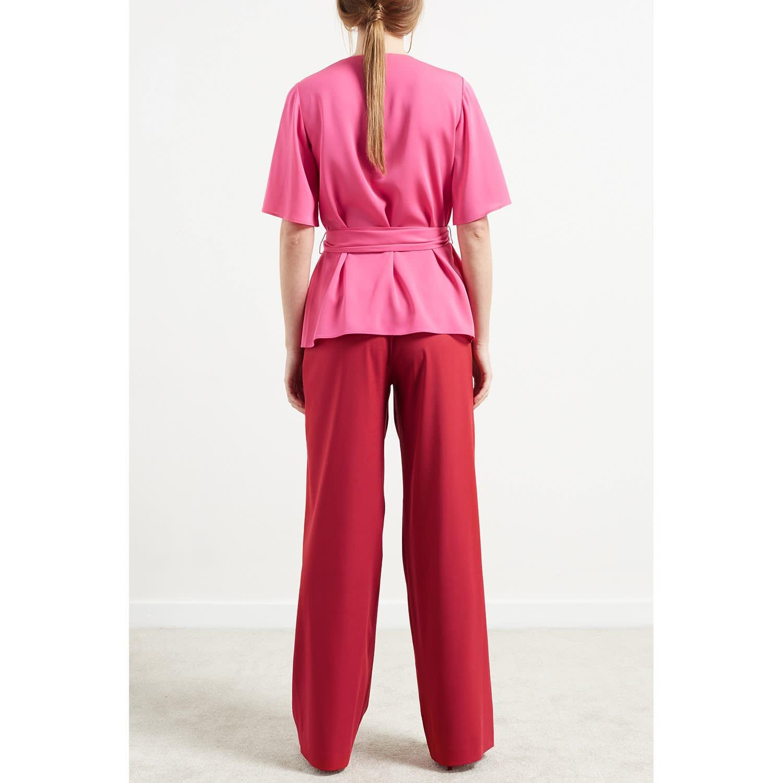 f3de94d879b147 Sonnet Belted Silk Wrap Top Pink | WtR | Wolf & Badger