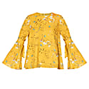 Round Neck Floral Top With Fluted Tie Sleeves In Yellow Floral image