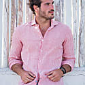 Corsica Stripes Linen Shirt In Red image