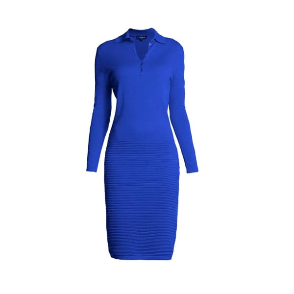 RUMOUR LONDON Olivia Azure Blue Soft Merino Wool-blend Dress