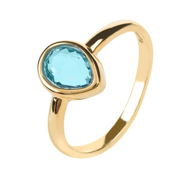Pisa Mini Teardrop Ring Gold Blue Topaz Hydro