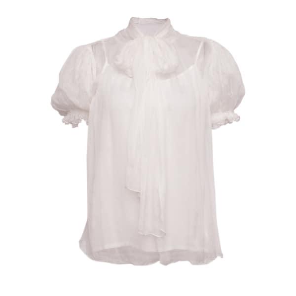 NISSA Silk Top with Short Puffed Sleeves