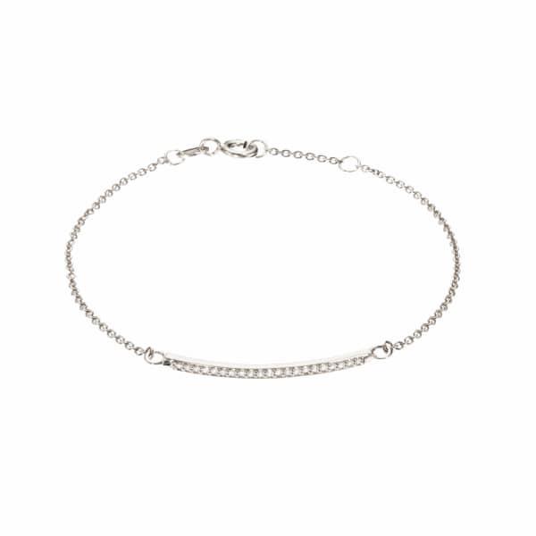 LILY & ROO Sterling Silver Diamond Style Bar Bracelet
