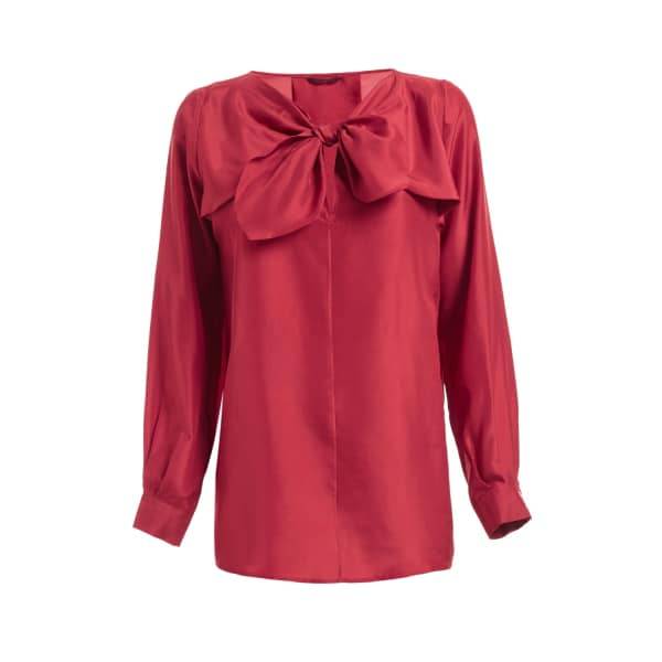 Sabina Silk Bow Top Red
