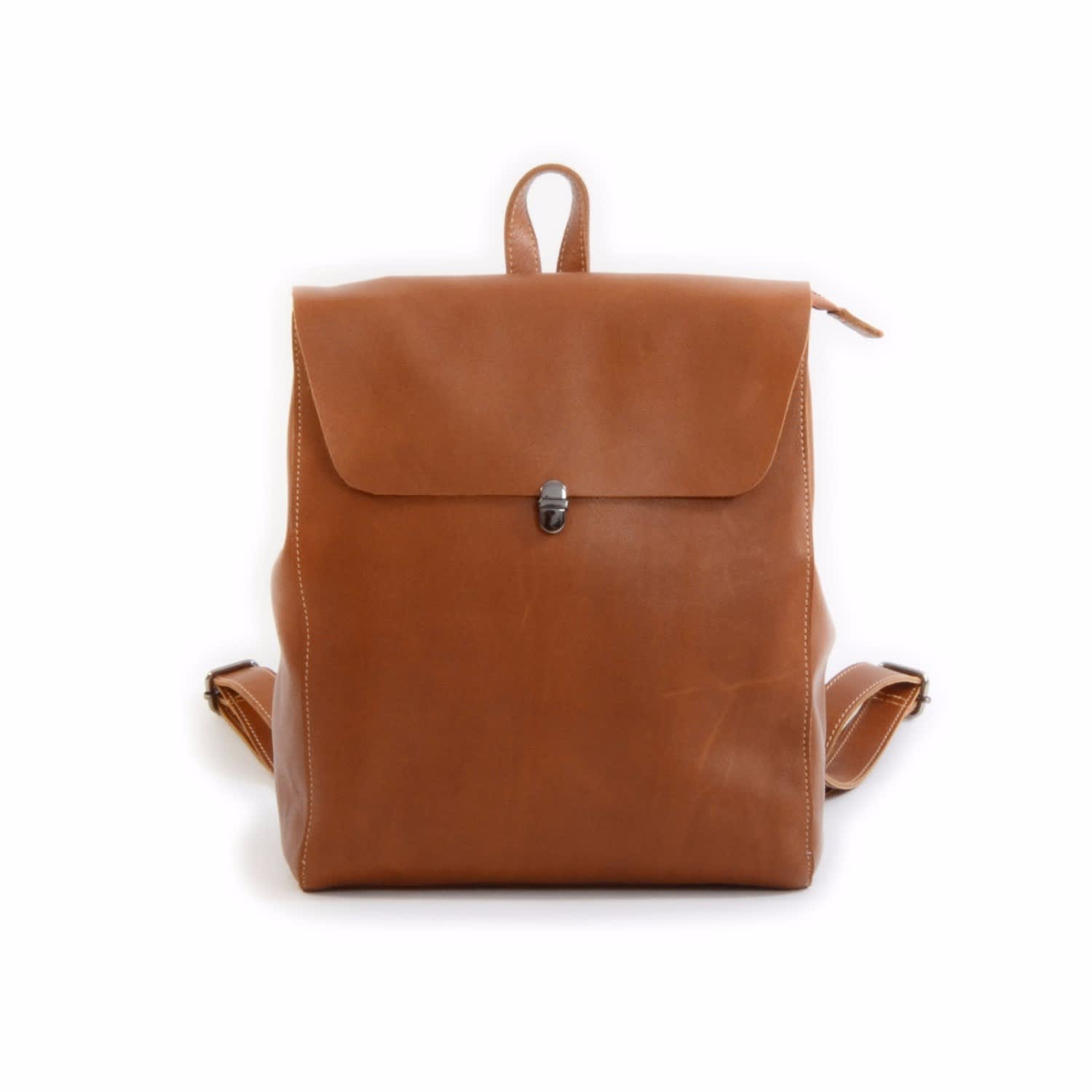 0f27ac9cb2 Minimalist Genuine Leather Backpack Light Brown image