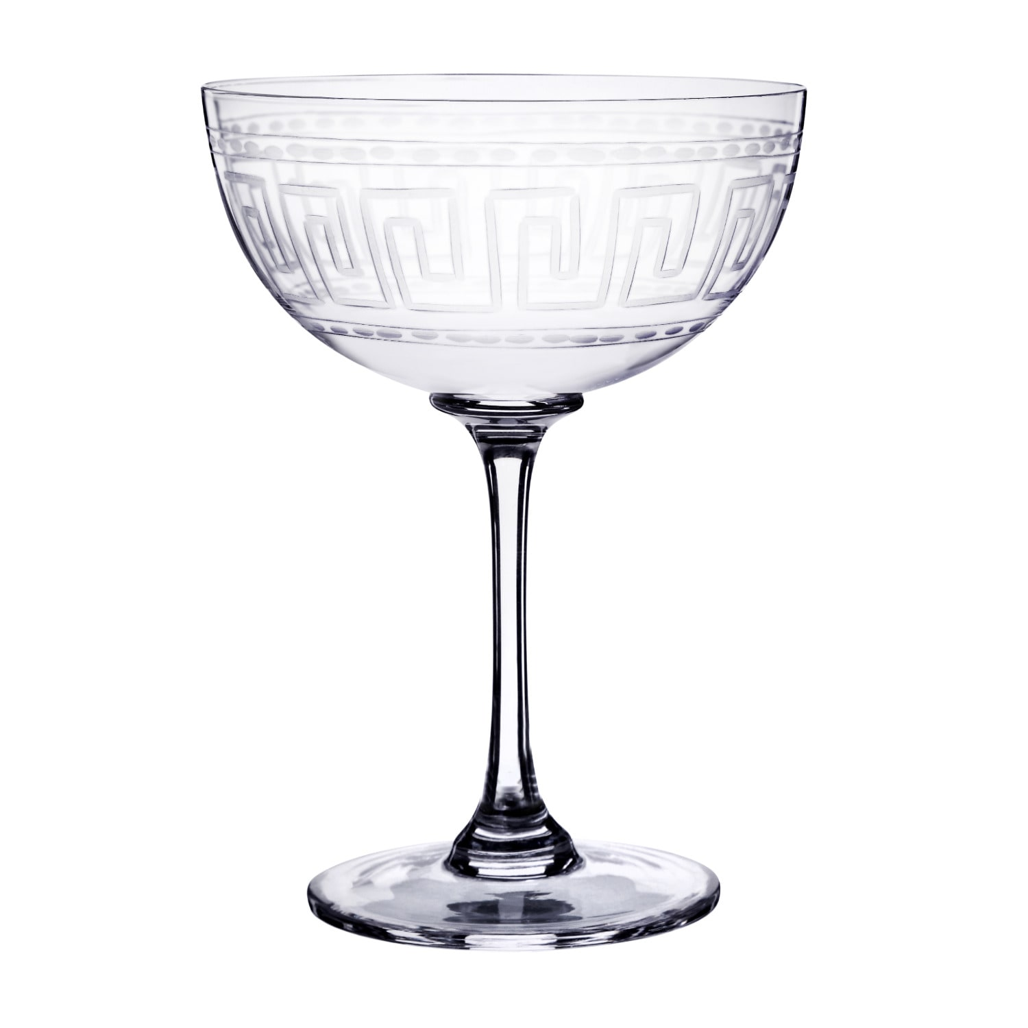 The Vintage List - Six Hand-Engraved Crystal Champagne Saucers With Greek Key Design