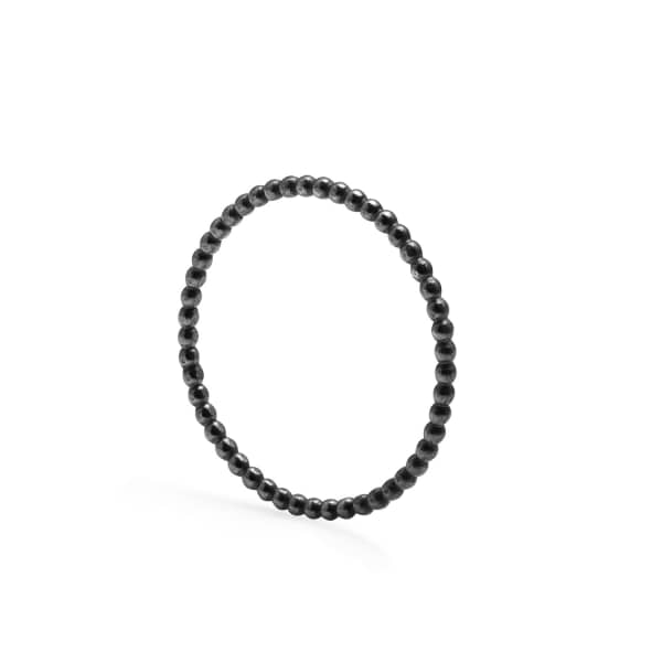 Black Skinny Ball Stacking Ring
