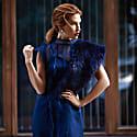 Midnight Blue Silk Organza Dress image
