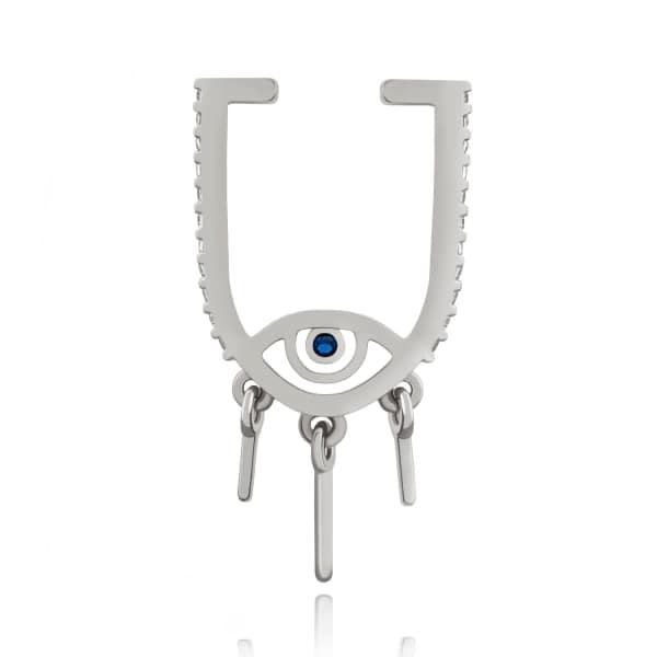ASTRID & MIYU The Evil Eye Ear Cuff In Silver