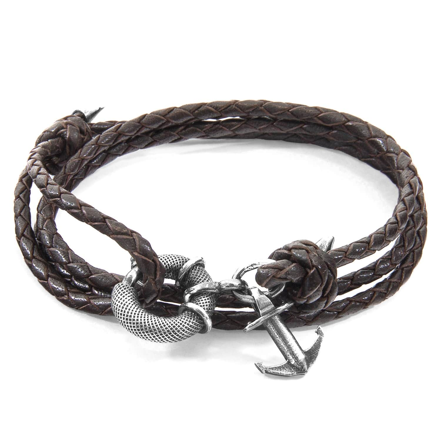Anchor & Crew Dark Brown Clyde Silver and Leather Bracelet gPcRfpLL