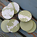 Set Of 4 Hand Poured Concrete Coasters In Sage image