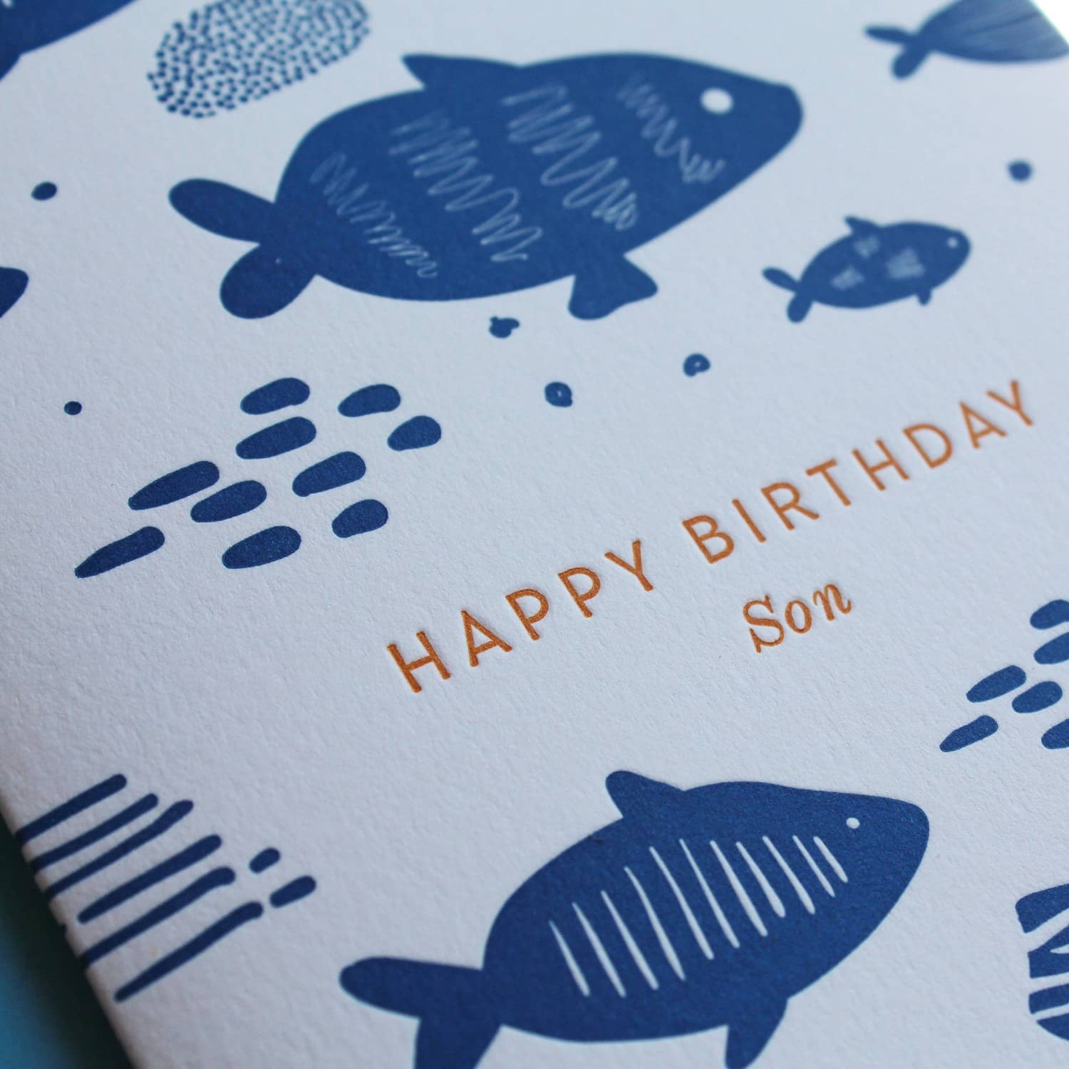Letterpress Happy Birthday Son Greetings Card Artcadia Wolf Badger