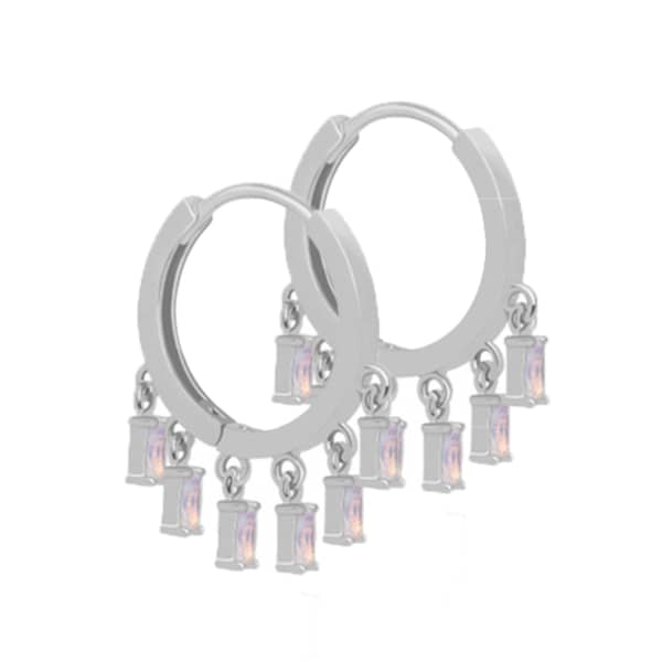 Mystic Opal Charm Hoops In Silver