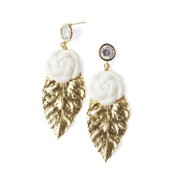 POPORCELAIN Porcelain Camellias & Golden Leaves Earrings