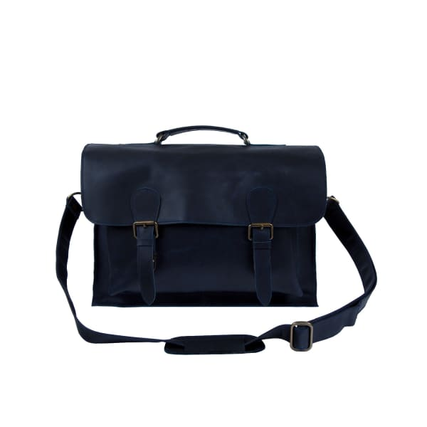 MAHI LEATHER Leather Messenger Satchel Bag In Navy