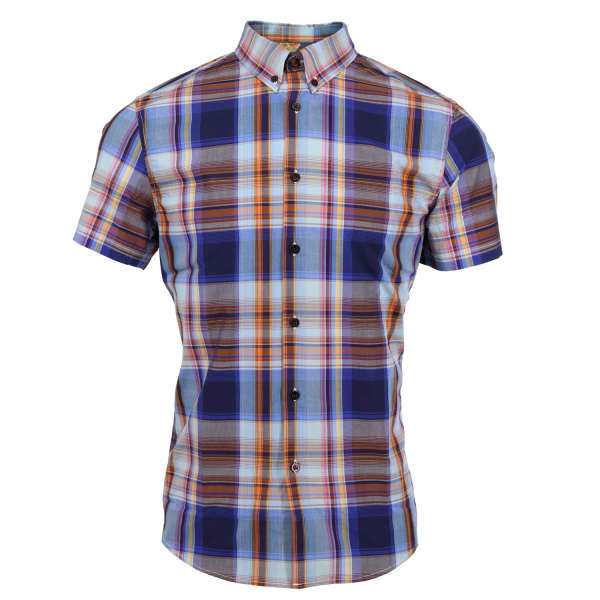LORDS OF HARLECH Tim Shirt In Navy Large Plaid
