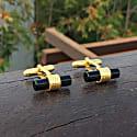 Cylindrical Cufflink Gold Black Onyx image