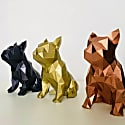 French Bulldog Geometric Sculpture - Frank In Metallic Aztec Gold image