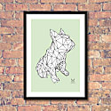 French Bulldog Geometric Print - Frank on White On Green image