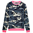 Camoflauge Printed Cashmere Blend Sweater With Neon Pink image
