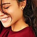 Stone Studs & 3 Pearls Ear Jacket -Gold - Garnet image