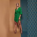 Mary-H-Wrap Dress  Kimono in Emerald Green image