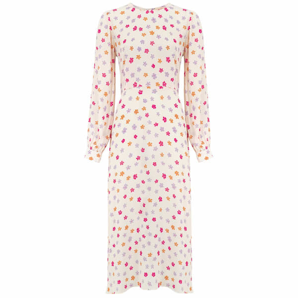 RADISH Goldie Dress In Cream Blossom Crepe