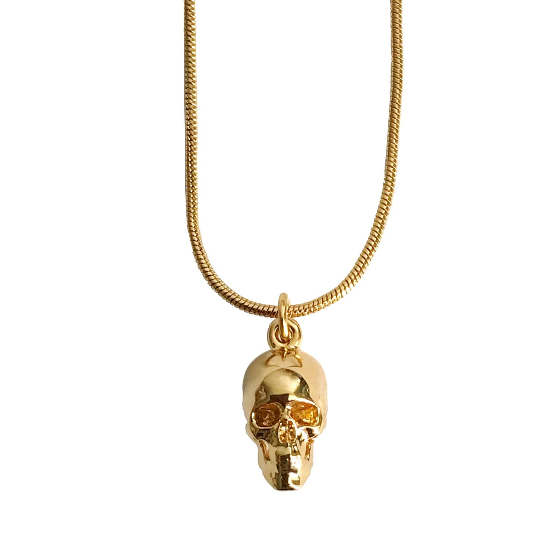Gold Skull Pendant Roz Buehrlen Wolf Badger
